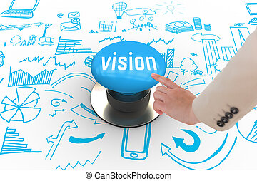 Vision against blue push button - The word vision and...