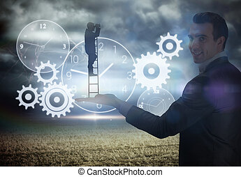 Composite image of businessman standing on ladder -...