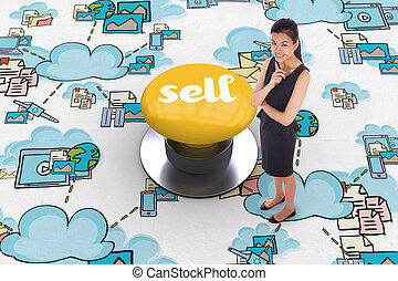 Sell against yellow push button - The word sell and...