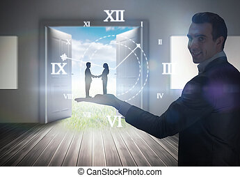 Composite image of side view of hand shaking trading...