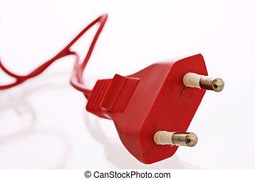 Red Power Plug - Red power plug as closeup on white...