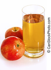 Apple Juice - Glass with fresh apple juice and two red...