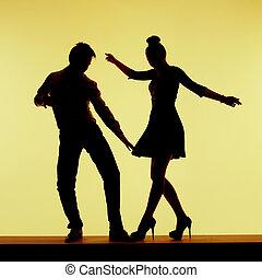 dois, silhuetas, dance-floor