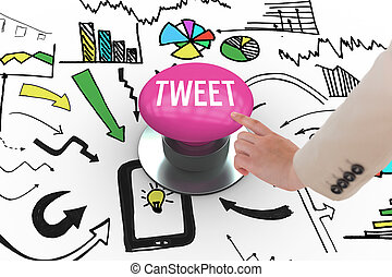 Tweet against pink push button - The word tweet and...