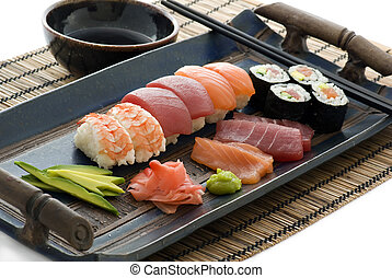 Sushi Platter - Blue large plate with a sushi collection.