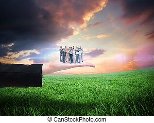 Composite image of business team lo - Business team looking...