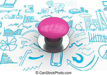 Start against brainstorm graphic - The word start and pink...