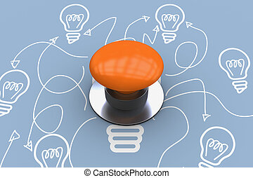 Composite image of orange push button - Orange push button...