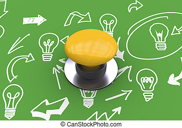 Composite image of yellow push button - Yellow push button...
