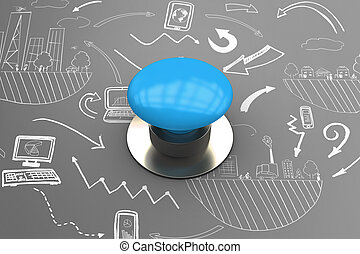 Composite image of blue push button - Blue push button...