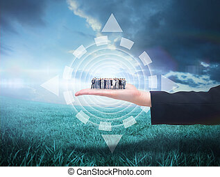 Composite image of business people standing up - Business...
