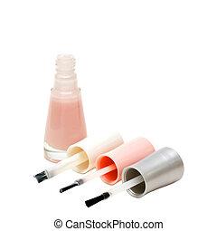 Nail polish - French manicure set of nail polish isolated on...