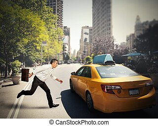 Businessman and taxi - Concept of delay with businessman...