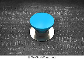 Composite image of blue push button - Blue push button...