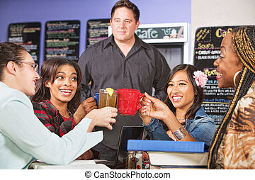 Students Holding Drinks - Male coffee house barista with...