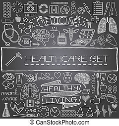 Hand drawn medical set of icons with medical and science...