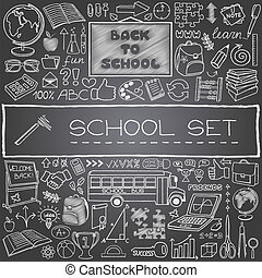 Hand drawn school icons with backboard, school bus, school...