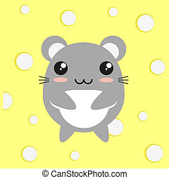Cute kawaii mouse on cheese background, flat design.