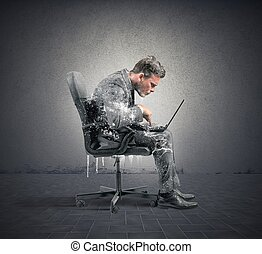 Businessman frozen - Concept of internet addiction with...
