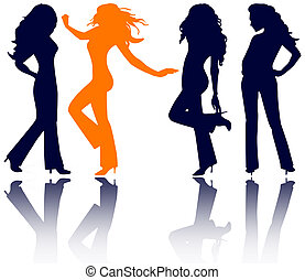 women silhouettes - four women in jeans, high heels and long...