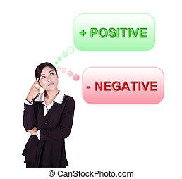 negócio, mulher, pensando, aproximadamente, positivo,...