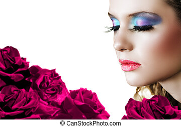 Woman with roses - Beautiful woman with long false lashes...