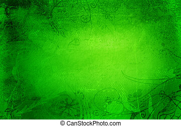 Grunge page with texture and designs - Grunge green page...