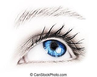 Blue eye of a woman.