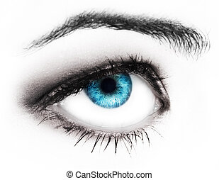 woman blues eye - Close-up of womans blue eye with long...