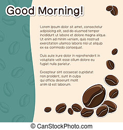 Coffee concept background. - Cartoon coffee beans and text....