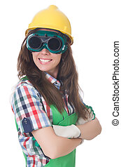 Woman wearing goggles in safety concept