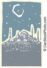 Istanbul Night - Woodcut style image of the Greek Orthodox...