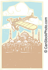 Hagia Sophia Airplane Day - Woodcut style image of the Greek...