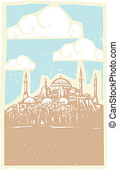 Istanbul Day - Woodcut style image of the Greek Orthodox...