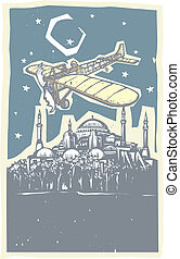 Hagia Sophia Airplane Night - Woodcut style image of the...