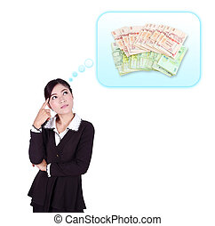 Business woman thinking about money isolated on white...