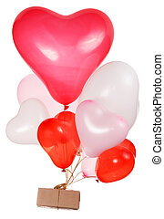 Heart shaped baloons with gift box isolated on white...