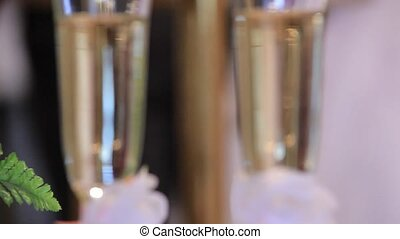 two glasses with champagne - beautiful two glasses with...