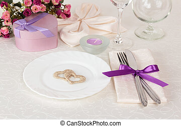 Valentine Day table setting - Festive table setting in beige...
