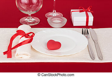 Valentine Day table setting - Romantic dinner on Valentines...