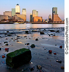 London Canary Wharf - Canary Wharf overlooking the River...