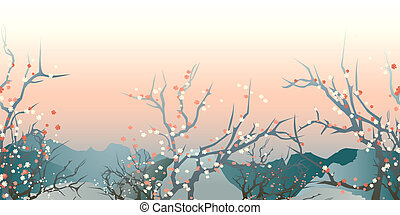 japan landscape - horizontal seamless pattern japan early...