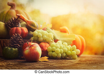 Autumn fruit - Autumn nature concept. Fall fruit and...