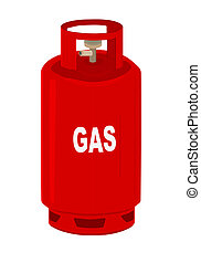 Gas cylinder.  - Red propane gas cylinder.