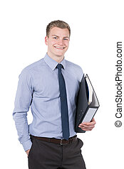 Young smiling man with file - Cut out image of a young...