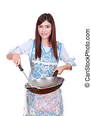 female chef holding the frying pan isolated on white...