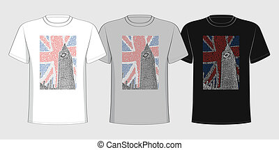 T-shirt with a picture of the Big Ben of the names of London...