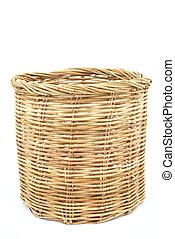 Rattan basket on isolated white good use for background