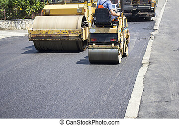 Asphalting roads