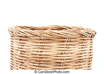 Rattan basket on isolated white use for background